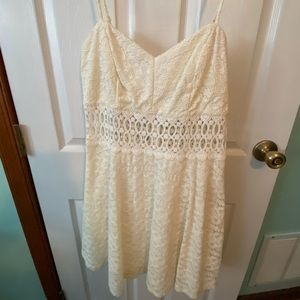 White sun dress with lace overlay